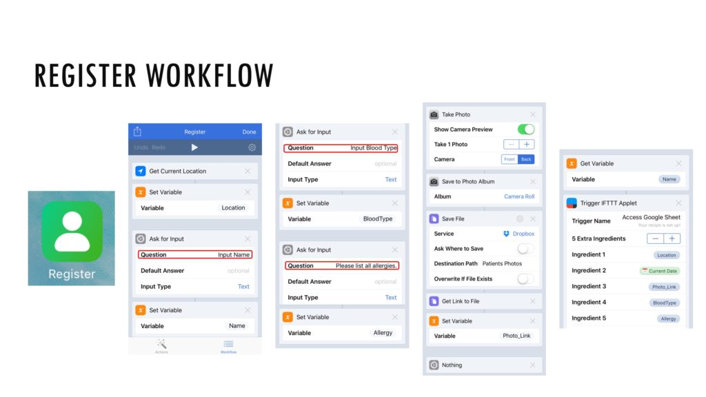 When the Register workflow is launched, the caregiver is prompted with questions about the patient, including name, blood type, and allergies.