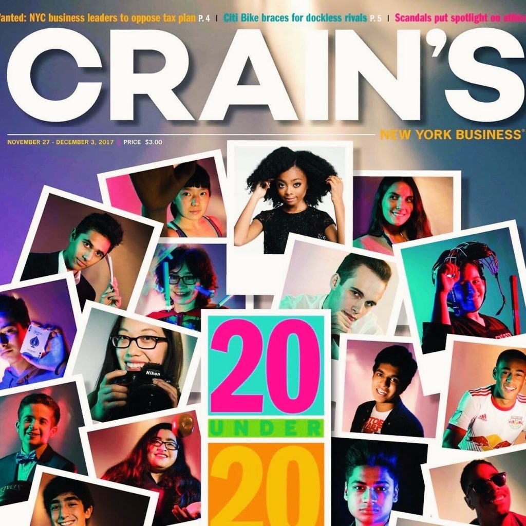 Anna Zhang featured on the Crain's 20 Under 20 Cover