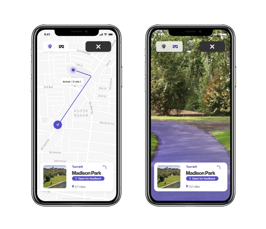 Navigate to project through AR or map view screens