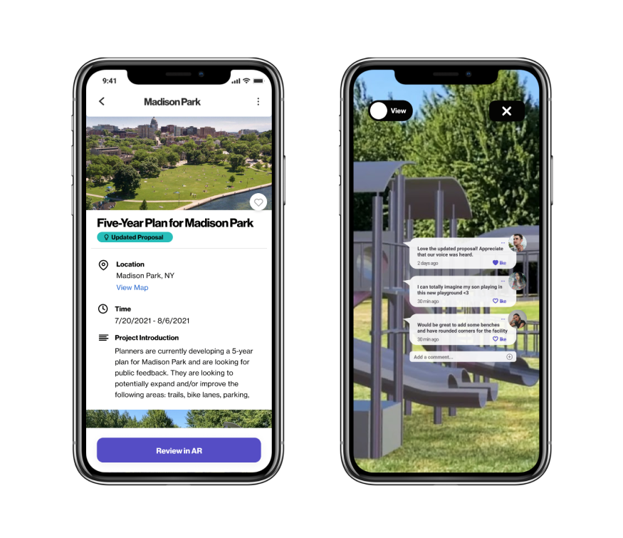 View AR model and share feedback screens